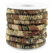 Cordon cousu 6x4mm multicolore beige-marron vert