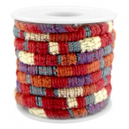 Cordon cousu 6x4mm multicolore rouge-orange-violet