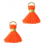 Pompons style Ibiza 1.5mm doré-rouge fluo