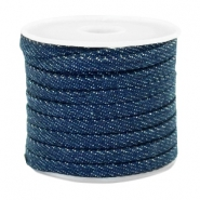 Cordon en denim plat 5mm bleu nuit marin