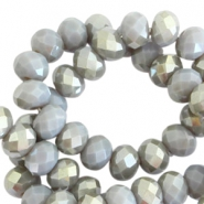 Perles à facettes 4x3mm disque gris shadow opal-half champagne pearl shine coating