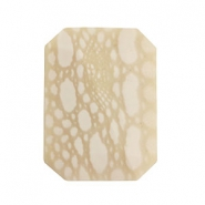 Perles acryliques DQ Polaris rectangle beige-blanc