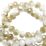 Perles à facettes 4x3mm disque blanc-half champagne pearl high shine coating