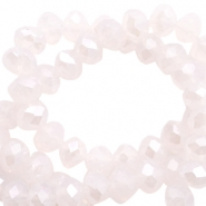 Perles à facettes 4x3mm disque rose clair alabaster rose-pearl high shine coating