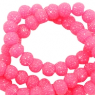 Perles scintillantes 6mm rose bonbon