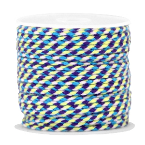 Trendy weaved cord Blue-purple-yellow